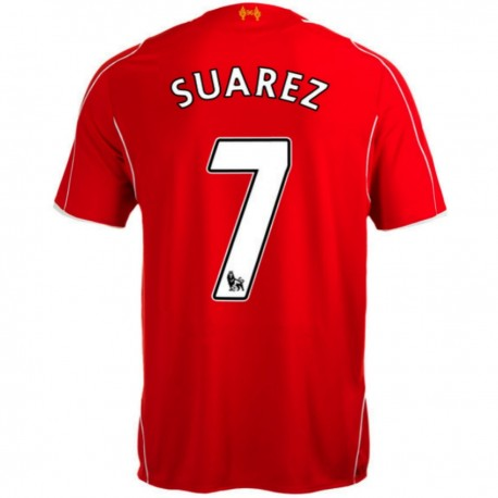 Liverpool FC Home soccer jersey 2014/15 Suarez 7 - Warrior