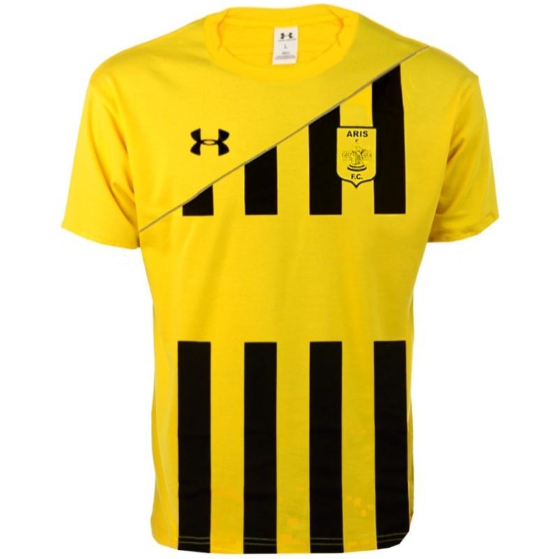 Aris thessaloniki home football shirt 2011 12 under for Under armor football shirts