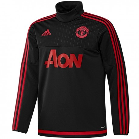 sweat tech top d 39 entrainement manchester united 2015 16 noir adidas sportingplus passion. Black Bedroom Furniture Sets. Home Design Ideas