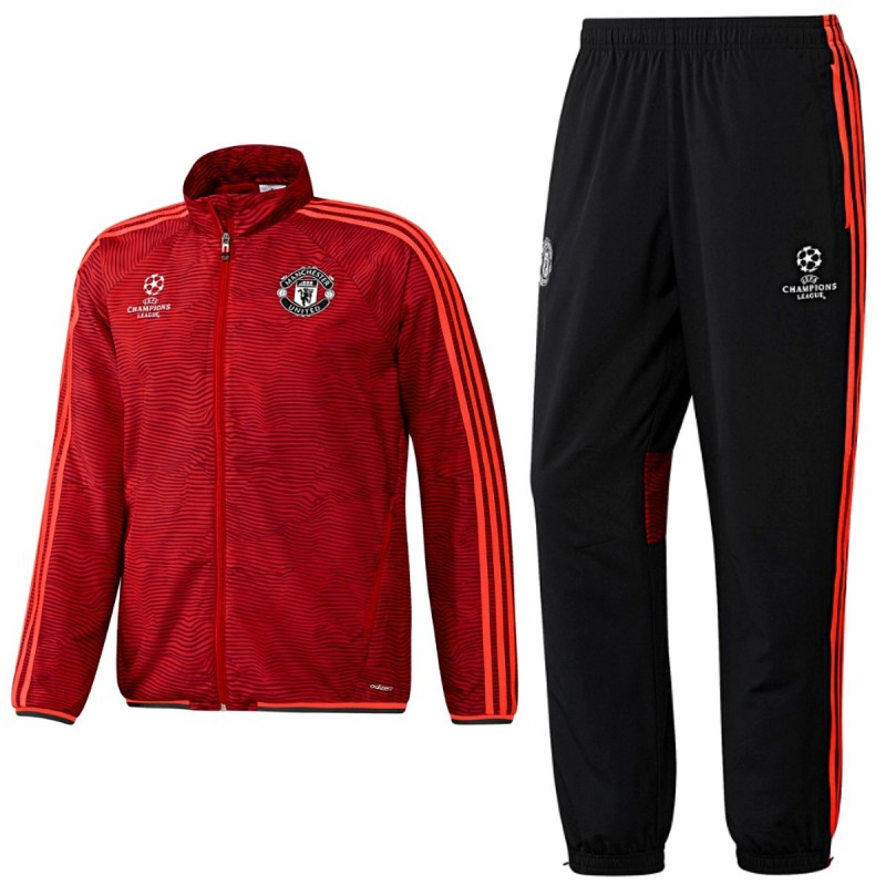 Manchester United UCL presentation tracksuit 2015/16 red ...