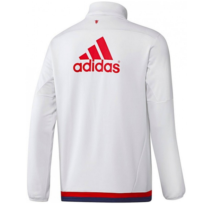sweat tech top d 39 entrainement manchester united 2016 blanc adidas. Black Bedroom Furniture Sets. Home Design Ideas