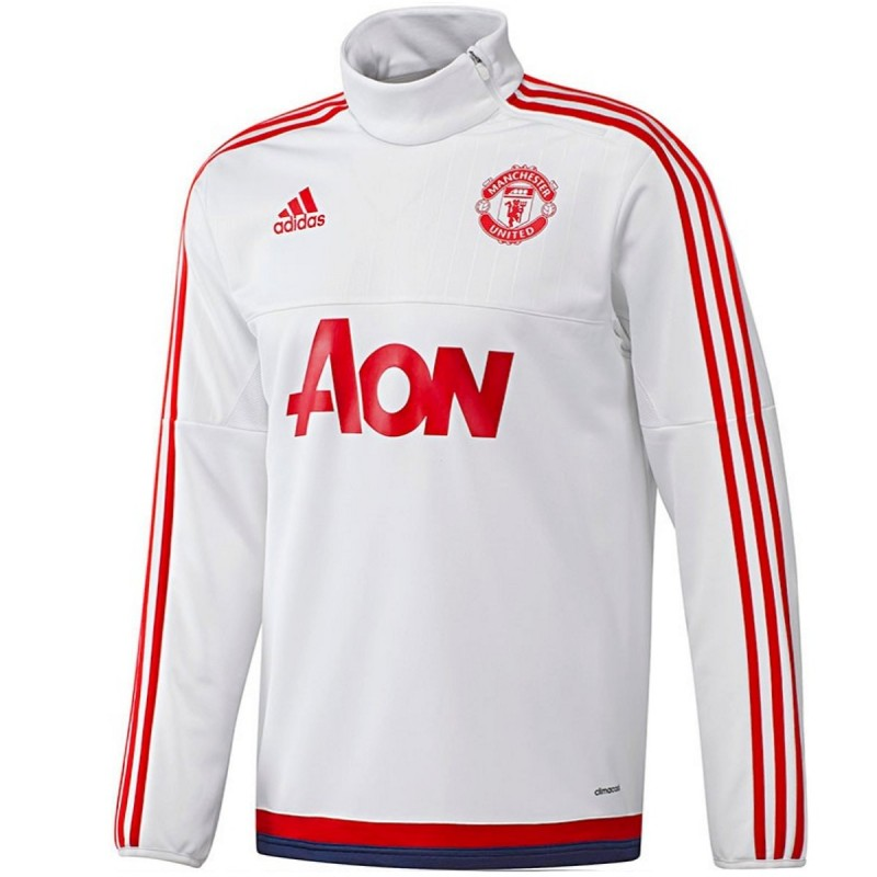sweat tech top d 39 entrainement manchester united 2016 blanc adidas