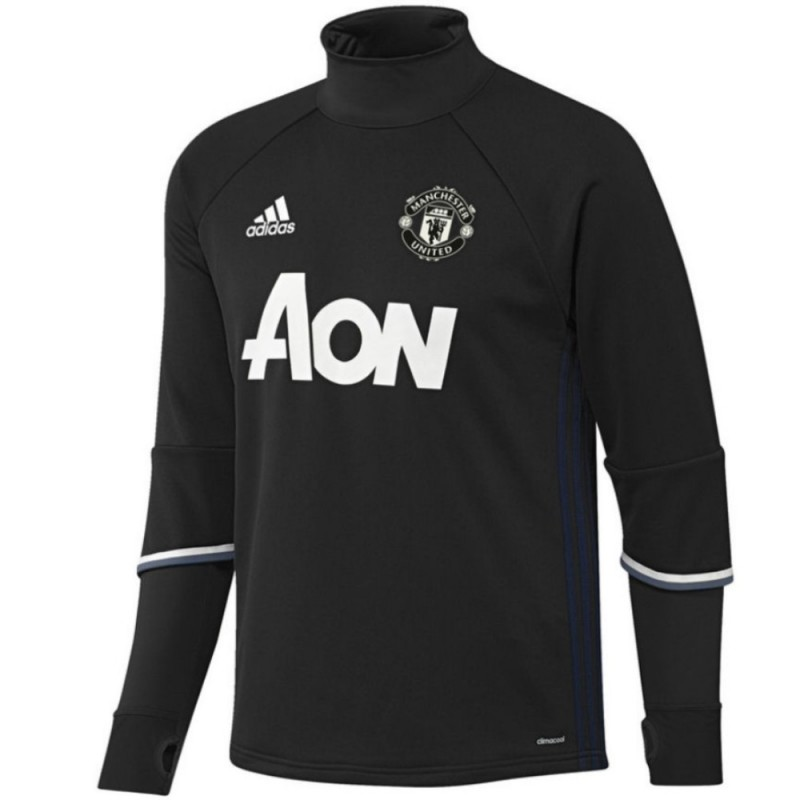 tech sweat top d 39 entrainement manchester united 2016 17 noir adidas. Black Bedroom Furniture Sets. Home Design Ideas