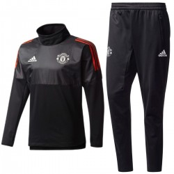 Manchester United black Eu training tech tracksuit 2017/18 - Adidas