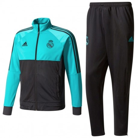 Real Madrid CF training tracksuit 2018 black/light blue - Adidas