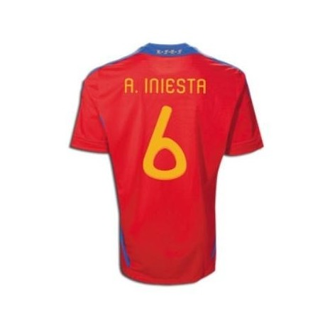 Spain National Jersey Home 10/12 Iniesta 6 by Adidas