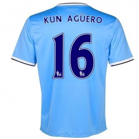 Manchester City Home Fußball Trikot 2013/14 Kun Aguero 16-Nike