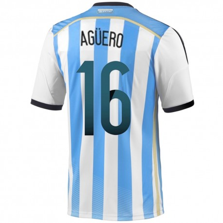 Argentina Home football shirt 2014/15 Aguero 16 - Adidas