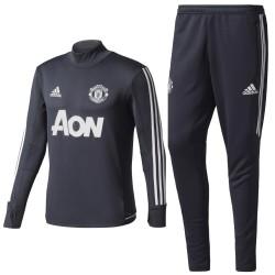 Survetement Tech d'entrainement Manchester United 2017/18 gris foncé - Adidas