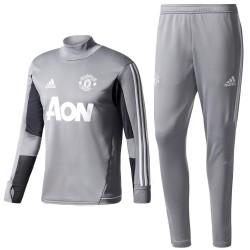 Survetement Tech d'entrainement Manchester United 2017/18 gris - Adidas