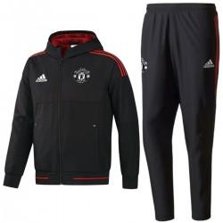 Manchester United black Eu presentation tracksuit 2017/18 - Adidas